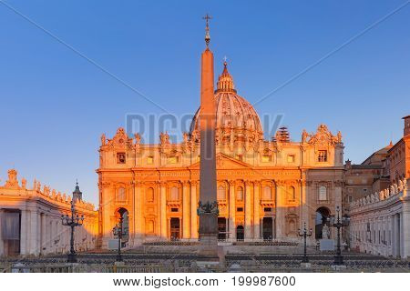 Panoramic view of The Papal Basilica of St. Peter in the Vatican or Saint Peter Cathedral at sunrise in Rome, Italy.