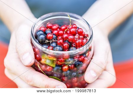 Photo of man with can of currant in hands at summer
