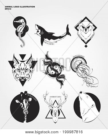 set animal labels and badges. Retro vector design graphic element, emblem, logo, insignia, sign, identity, logotype, poster.