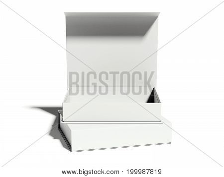 White opened luxury box on bright floor. 3d rendering