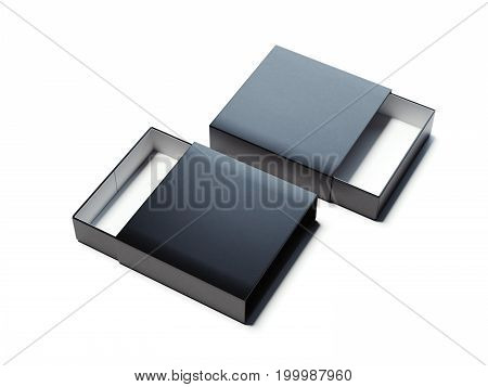 Two black opened boxes on bright floor. 3d rendering