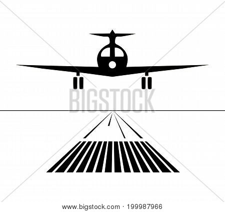 Icon plane lands on the runway isolated. vector illustration