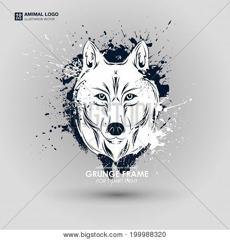 Abstract grunge animal print for t-shirt. Wolf modern street style attributes. Vector art. Wolf head for poster. HIPSTER print for t-shirt.