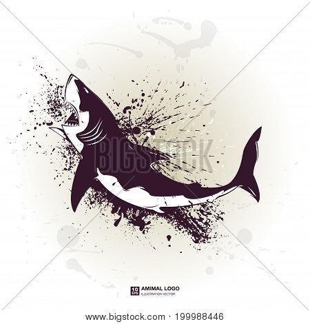 abstract grunge animal logo. Animal labels and badges. Retro vector design graphic element, emblem, logo, insignia, sign, identity, logotype, poster. Print for t-shirt shark. vector illustration