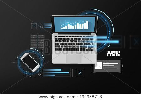 business, statistics and technology concept - laptop computer with chart on screen and smartphone top view