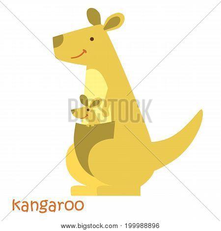 Kangaroo isolated. Drawing kangaroo for a child