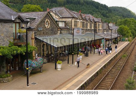 Betws y Coed Wales UK - August 15 2017: Betws-y-Coed railway station on the Conwy Valley Line built in 1868 the station buildings now house various shops and cafes