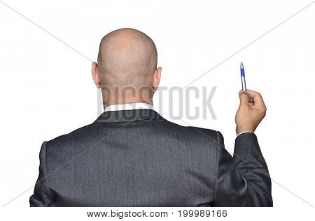 Back view from a bald head businessman holding a pen.. Time to sign.