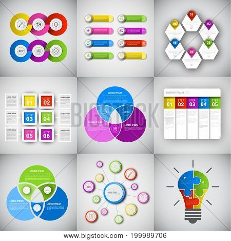 Headline Infographic Set Design Business Data Graphic Collection Presentation Copy Space Vector Illustration