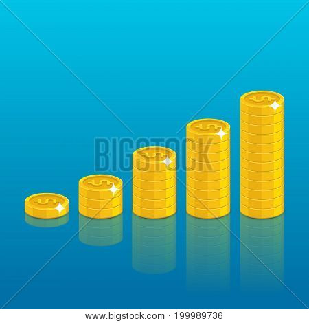 Dollar coin stack. Good financial foundation start, becoming rich. Business success and economy concept. Cartoon vector illustration on blue background