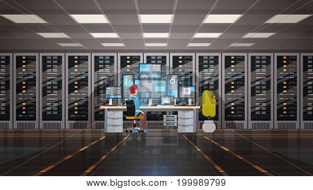 Man Working In Data Center Room Hosting Server Computer Monitoring Information Database Flat Vector Illustration