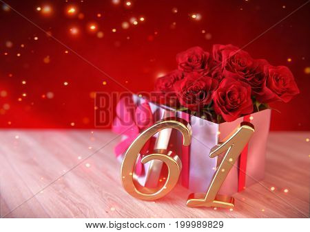 birthday concept with red roses in gift on wooden desk. 3D render - sixty-first birthday. 61st