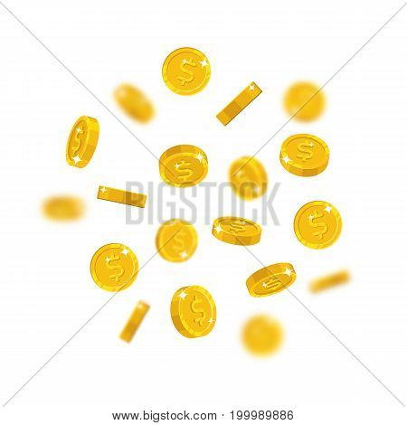 Gold dollars flying cartoon isolated. Gold dollars with the effect flying in the air in a cartoon style for designers and illustrators. Floating pieces in the form of vector illustrations