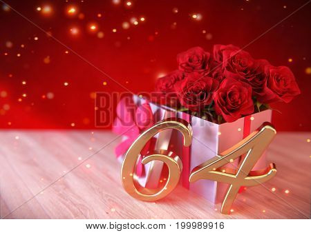 birthday concept with red roses in gift on wooden desk. 3D render - sixty-fourth birthday. 64th