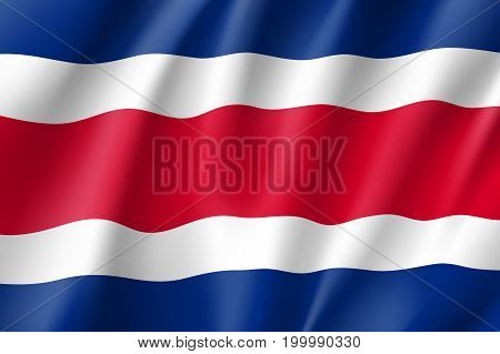 Flag Costa Rica realistic icon. State insignia of the nation in realistic style on the entire page. Waving civil flag. National symbol in the form of a vector illustration