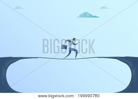 Businessman Walk Over Cliff Gap Mountain Business Man Balancing Wooden Stick Bridge Flat Vector Illustration