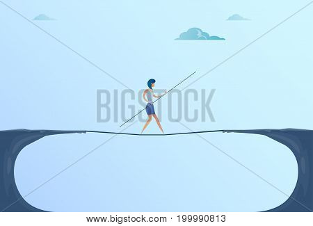 Businesswoman Walk Over Cliff Gap Mountain Business Woman Balancing Wooden Stick Bridge Flat Vector Illustration