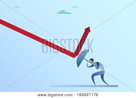 Business Man Hold Umbrella Rise Arrow Up Crisis Protection Concept Flat Vector Illustration