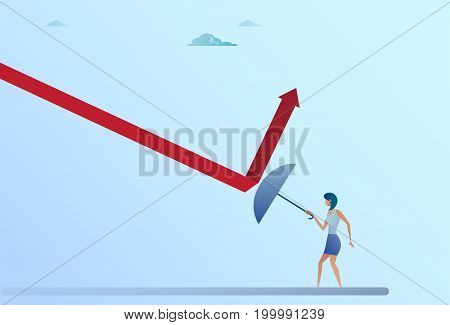 Business Woman Hold Umbrella Rise Arrow Up Crisis Protection Concept Flat Vector Illustration