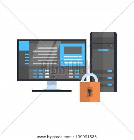Data Center Protection Icon Hosting Server Security Database Technology Vector Illustration