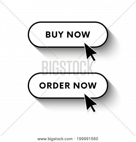 Buy now button. Order now button. Long shadow. Vector illustration.
