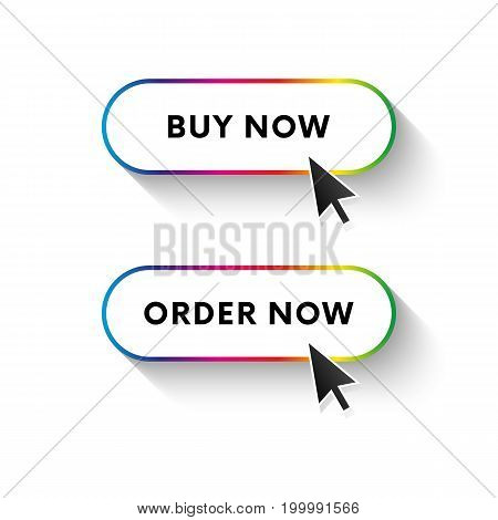 Buy now button. Order now button. Spectrum gradient. Long shadow. Vector illustration.
