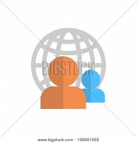 Profile Icon Over World Globe Group User Member Avatar Vector Illustration