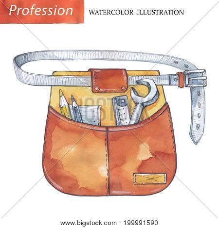 Hand painted work wear with carpentry tools. Profession, hobby, craft illustration. Watercolor. Profession instruments. Men's work.