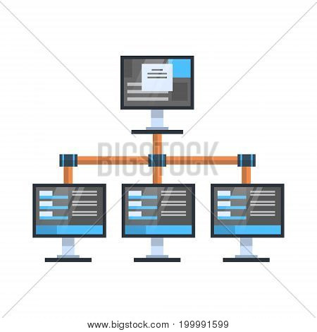 Data Access Icon Cloud Computer Connection Hosting Server Database Synchronize Technology Vector Illustration