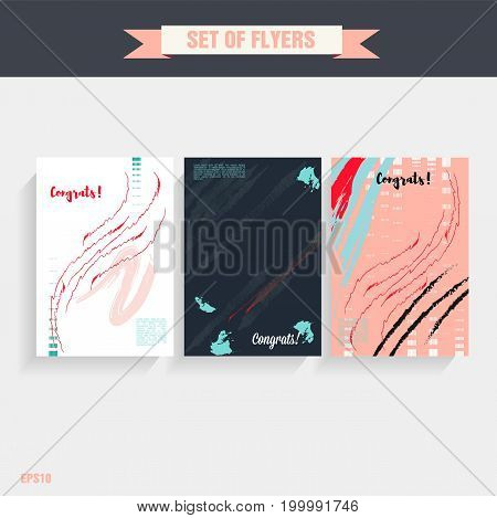 Set of creative universal cards for wedding, anniversary, birthday, Valentine's day party. Design for banner, poster, card