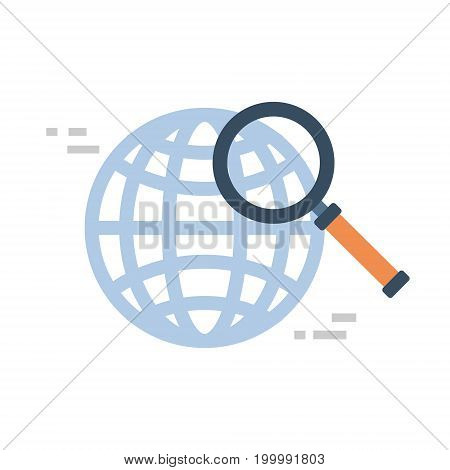 Magnifying Glass Icon Global Data Search Concept Vector Illustration