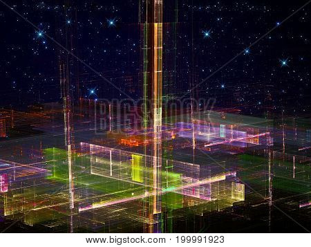 Abstract future city computer-generated image. Fractal art: bizarre glass structure under dark sky with stars. Virtual reality or future technology concept.