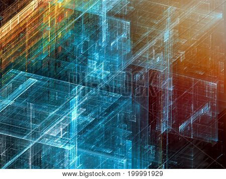 Abstract technology fractal background - computer-generated image. Digital art: glossy structure with grid, perspective and light effects.