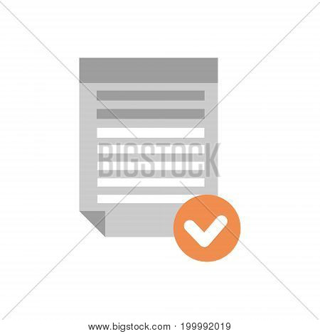 Document File Selected Icon Checklist Paper Flat Vector Illustration