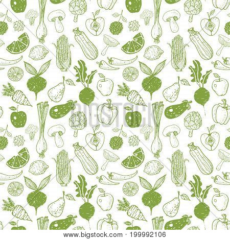 Seamless background with doodle vegetables and fruits. Vector sketch illustration.