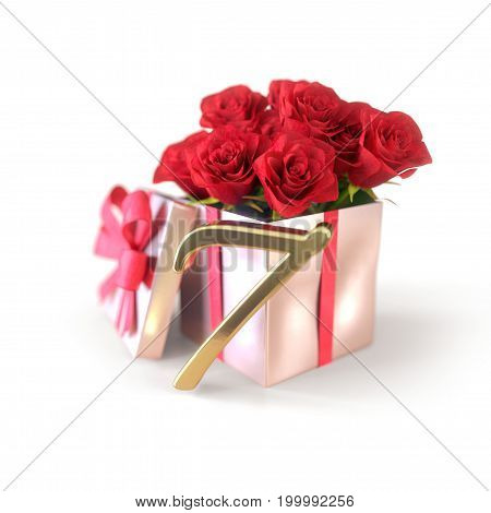 birthday concept with red roses in gift isolated on white background. 3D render - seventh birthday. 7th
