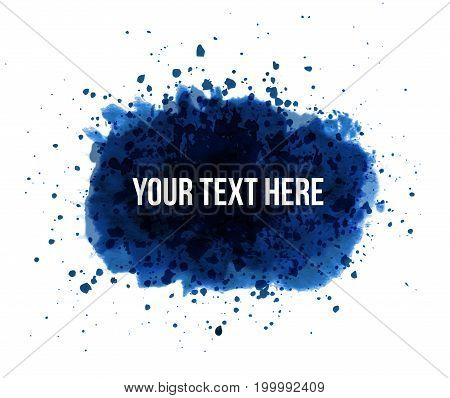 Big blue grunge splash with place for your text on white background.