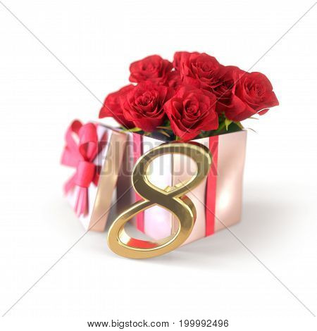 birthday concept with red roses in gift isolated on white background. 3D render - eighth birthday. 8th