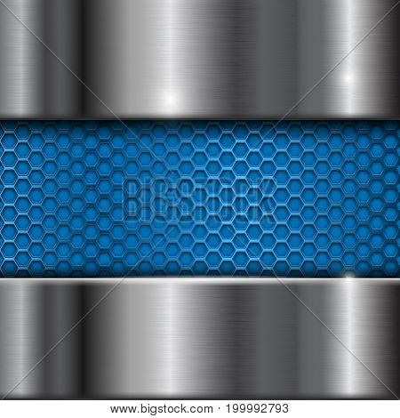 Metal stainless steel background with blue perforation. Vector 3d illustration
