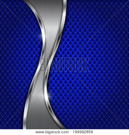 Blue metal perforated background with steel wave element. Diamond shape holes. Vector 3d illustration