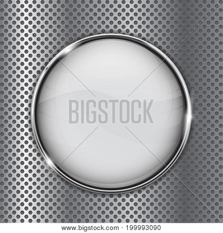 White glass button on metal perforated background. Vector illustration