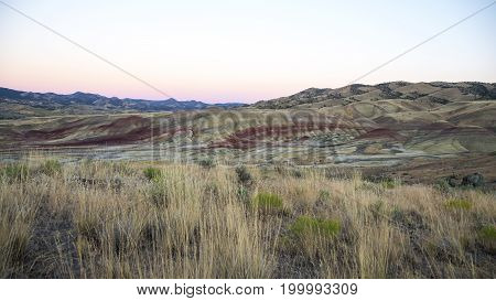 Picture of the Painted hills by sunset, Oregon, USA.