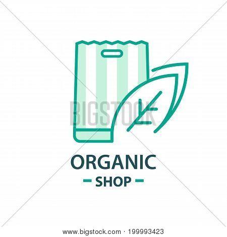 Healthy Organic eco vegetarian food Logo design vector template. Ecology Health eco Organic Logo fresh from farm vegetables Logotype concept icon.