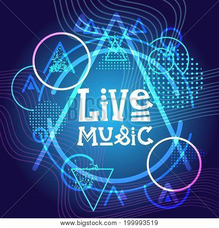 Live Music Concert Poster Festival Banner Vector Illustration