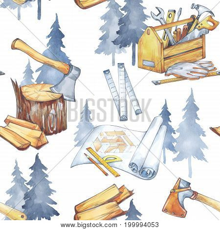 Seamless pattern with carpentry tools. Profession, hobby, craft illustration. Watercolor axe, roulette, blueprints, toolbox, firewood and trees Profession instruments Men's work