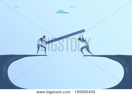 Two Businessmen Building Bridge Over Cliff Gap Mountain Business People Cooperation Help Teamwork Concept Flat Vector Illustration