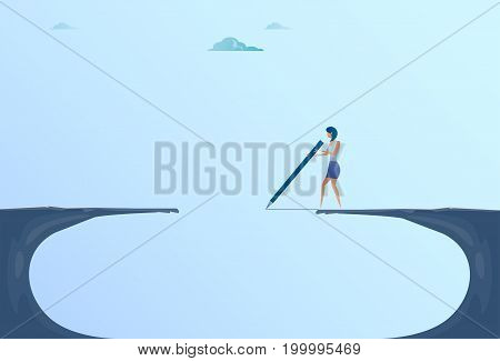 Businesswoman Drawing Bridge Walking Over Cliff Gap Mountain Business Woman Risk Concept Flat Vector Illustration