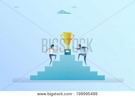 Business People Climbing Stairs Up To Golden Cup Winner Success Competition Concept Flat Vector Illustration