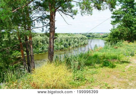 Panoramic view of the Don river village near Rostov Russia Europe