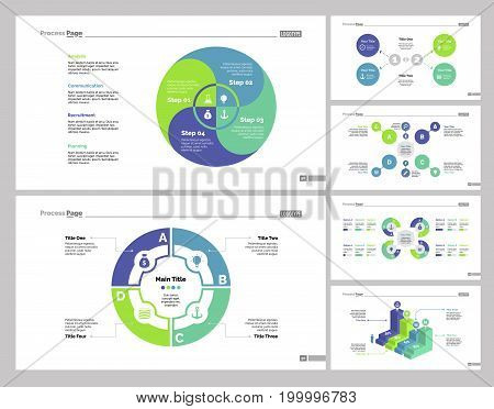 Infographic design set can be used for workflow layout, diagram, annual report, presentation, web design. Business and strategy concept with process, bar and percentage charts.